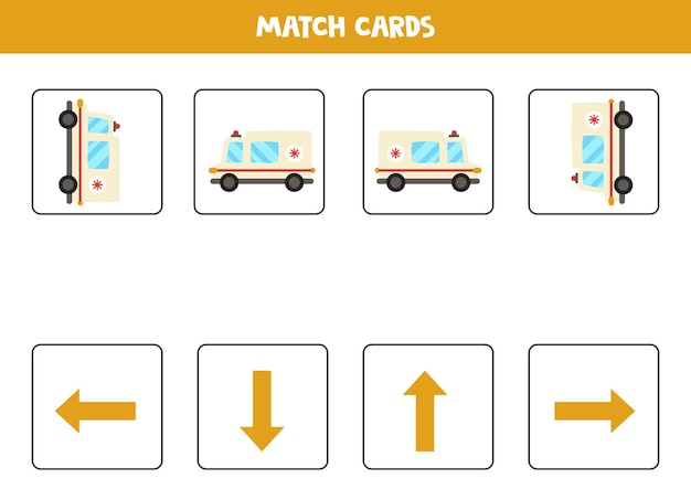 W lewo, w prawo, w górę lub w dół. orientacja przestrzenna z kreskówki karetką pogotowia.