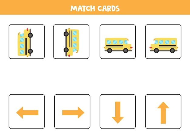 W lewo, w prawo, w górę lub w dół. orientacja przestrzenna z kreskówkowym autobusem szkolnym.