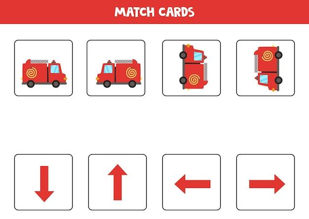 W lewo, w prawo, w górę lub w dół. orientacja przestrzenna z kreskówkowym wózkiem strażackim.