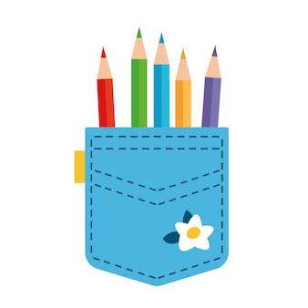 W niebieskiej kieszeni wystają ołówki ubrania inżyniera lub księgowego architekta