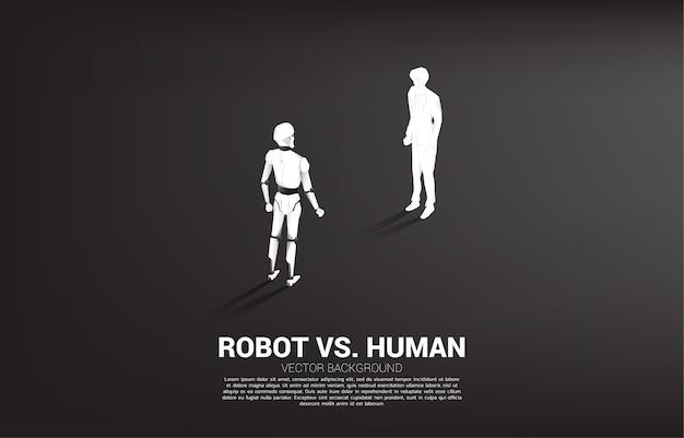 W obliczu człowieka i robota. koncepcja biznesowa uczenia maszynowego i sztucznej inteligencji ai. człowiek kontra robot.