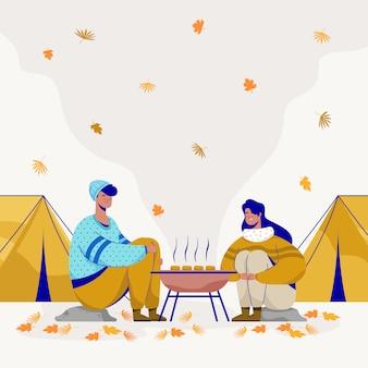 W parku ludzie palą grilla. ilustracja wektorowa płaski.