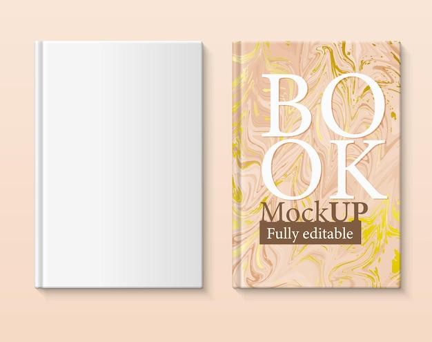 W pełni edytowalna makieta książki okładka książki z marmurkowym papierem w odcieniach brązu i złota