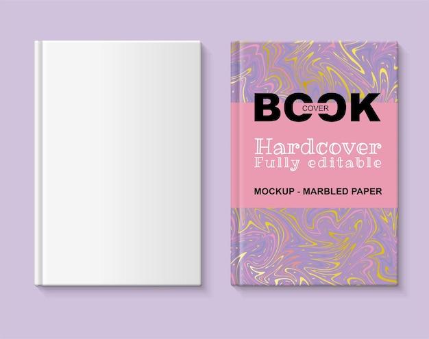W pełni edytowalna makieta książki okładka książki z marmurkowym papierem w odcieniach koralowego fioletu i złota