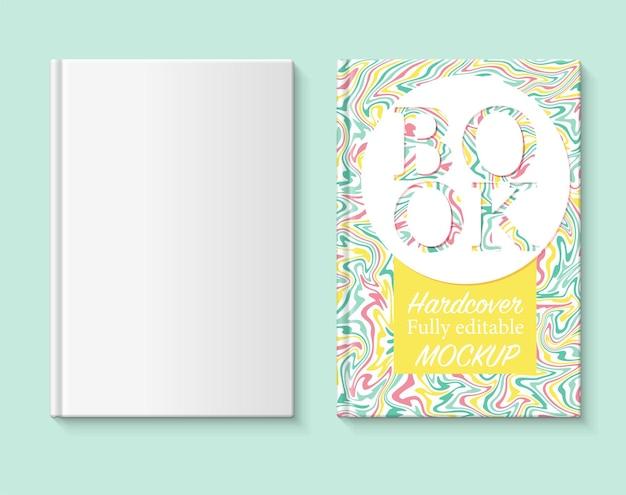 W pełni edytowalna makieta książki okładka książki z marmurkowym papierem w zielonych, żółtych i czerwonych kolorach