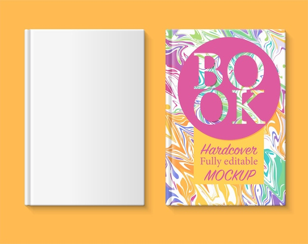W pełni edytowalna makieta książki okładka książki z tęczowym marmurkowym papierem