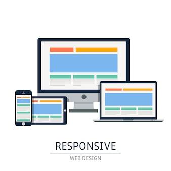 W pełni responsywny web design w urządzeniach elektronicznych