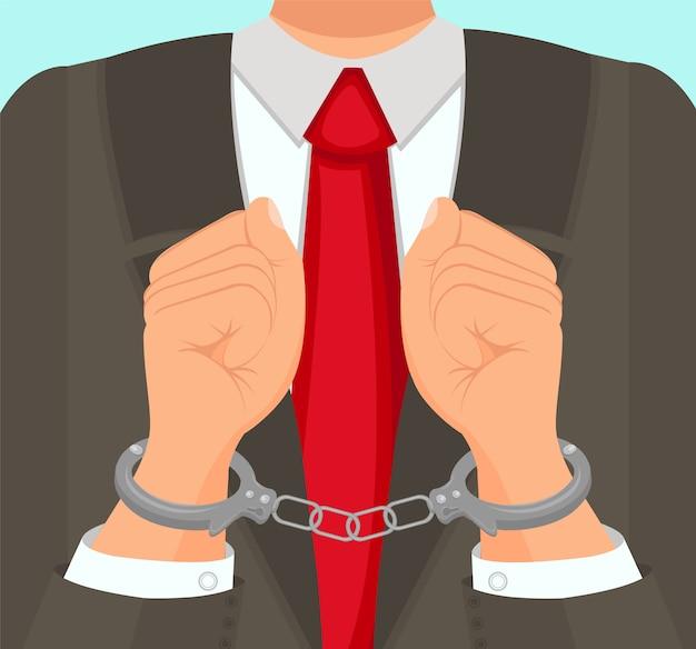 W pierwszym planie człowiek w garniturach w kajdankach.