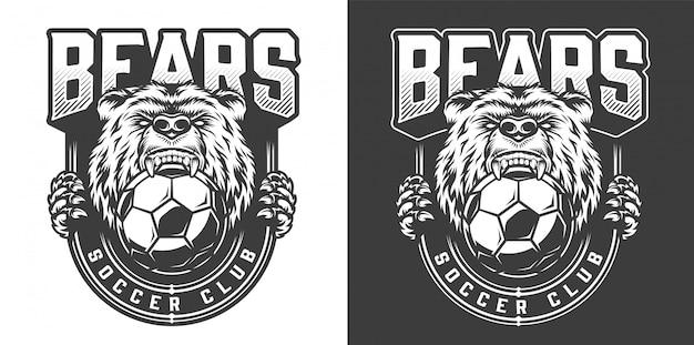 W piłce nożnej wściekły niedźwiedź maskotka godło
