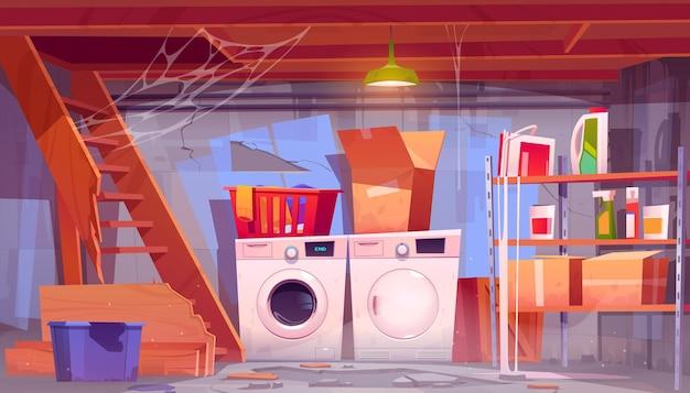 W piwnicy domu pomieszczenie gospodarcze z wyposażeniem pralniczym