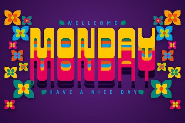 W poniedziałek miłego dnia cyfrowe kwiaty w tle