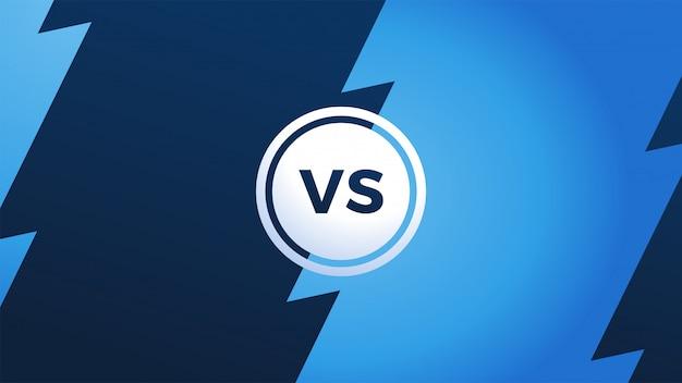 W porównaniu z monogramem z piorunem i literami vs. ekran mistrzostw. vs nagłówek bitwy, konflikt między drużynami. podzielony ekran.