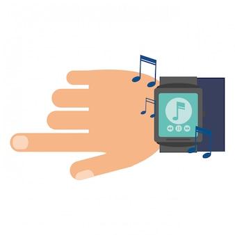 W ręku odtwarzacz muzyki smarwatch