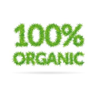 W stu procentach organiczny napis złożony z zielonej trawy
