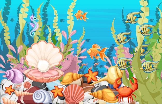 W tle morza marine life landscape - ocean i podwodny świat z różnymi mieszkańcami.