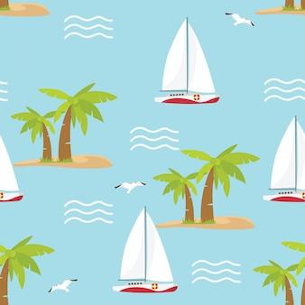 W wakacje letnie jednolity wzór z żaglówkami
