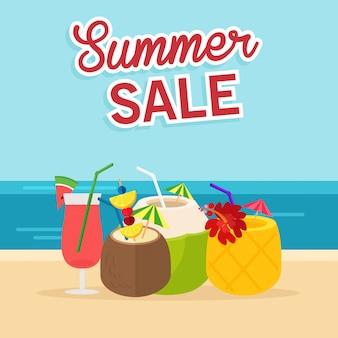 W wakacje letnie, pionowe ulotki summer sale z koktajl na ilustracji plaży