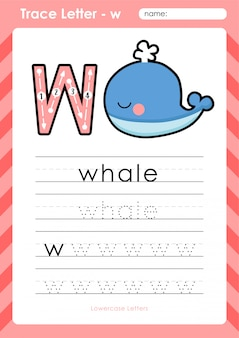 W wieloryba: arkusz kalkulacyjny alfabet az - ćwiczenia dla dzieci