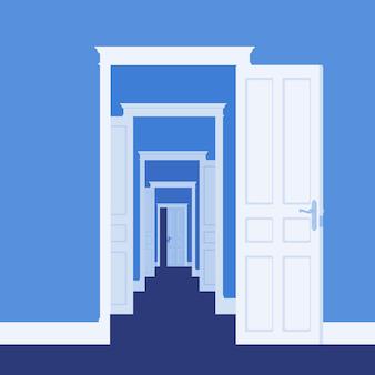 W wielu pokojach drzwi otwierają się. metafora biznesu, szansa życiowa, nowe drogi do sukcesu, szansa i możliwość rozwoju, droga do celu lub marzenia. ilustracja wektorowa, postacie bez twarzy