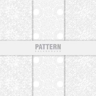 W zestawie zestaw orientalnych wzorów. białe tło z arabskimi ornamentami