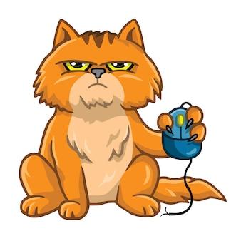 W złym humorze kot trzyma komputerową mysz kreskówka wektor ilustracja
