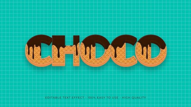 Wafel czekoladowy edytowalny efekt tekstowy