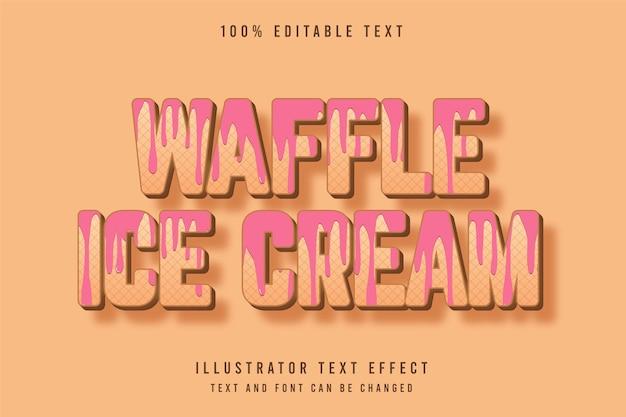 Waffle ice cream, 3d edytowalny efekt tekstowy, brązowy, gradacja, różowy, wzór, styl