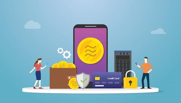 Waga kryptowaluty libra z płatnością i ikoną aplikacji na smartfony oraz ikoną finansów i finansów w nowoczesnym stylu mieszkania.