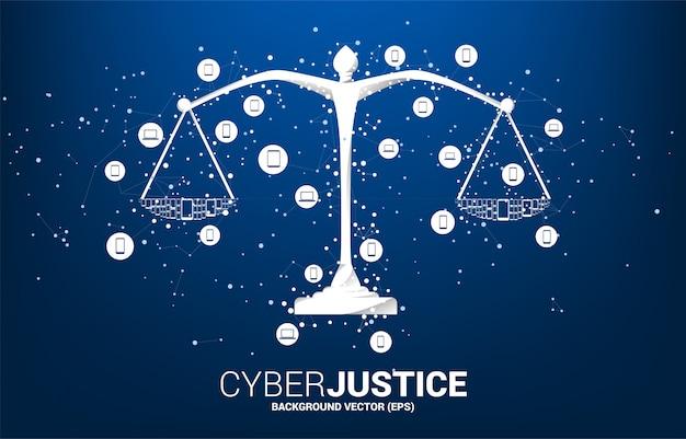 Waga sprawiedliwości z połączeniem punktowym i liniowym oraz ikoną urządzenia mobilnego.