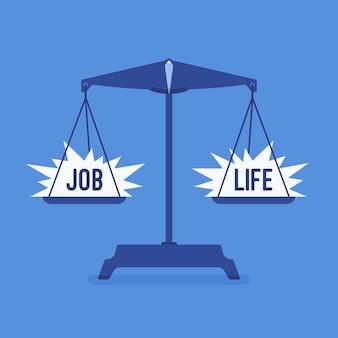 Wagi narzędzie z dobrą równowagą pracy i życia. metafora harmonii, przyjemnej zgody na pracę, zgody rodzinnej, równej wagi, motywacji wyboru odpowiedniego stylu życia.
