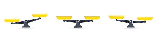 Wagi, płaska konstrukcja. miski wagi w równowadze, brak równowagi wagi. waga, wektor ilustracja na białym tle