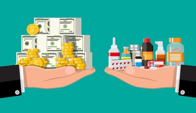 Wagi ręczne z kupą pieniędzy i butelek leków i tabletek. ubezpieczenie zdrowotne i opieka zdrowotna. kupno i sprzedaż narkotyków. sklep apteczny. ilustracja wektorowa w stylu płaski