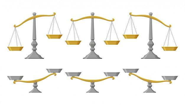 Wagi ustawione z różnymi wagami. ilustracja.