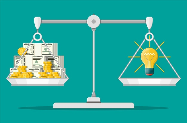 Wagi wagi. żarówka. koncepcja kreatywnego pomysłu lub inspiracji. szklana żarówka ze spiralą w stylu płaski. stosy pieniędzy i monet. ilustracja