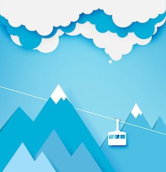 Wagon kolei linowej papieru sztuki styl z pięknym krajobrazowym tłem