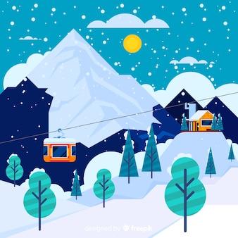Wagon kolei linowej zima tło