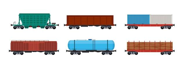 Wagony kolejowe, wagony kolejowe i kontenery kolejowe.