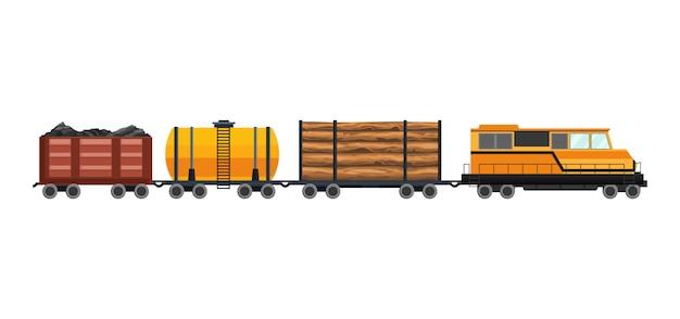 Wagony towarowe z pociągiem towarowym kontenerowym i skrzynkowym. zestaw ilustracji transportu taboru. elementy projektu ciężkiego transportu logistycznego. ilustracja urządzony