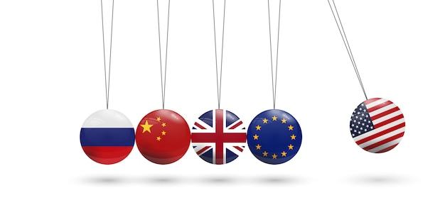 Wahadło kul z flagą. konflikt polityczny i gospodarczy usa z koncepcją unii europejskiej, wielkiej brytanii, rosji i chin.