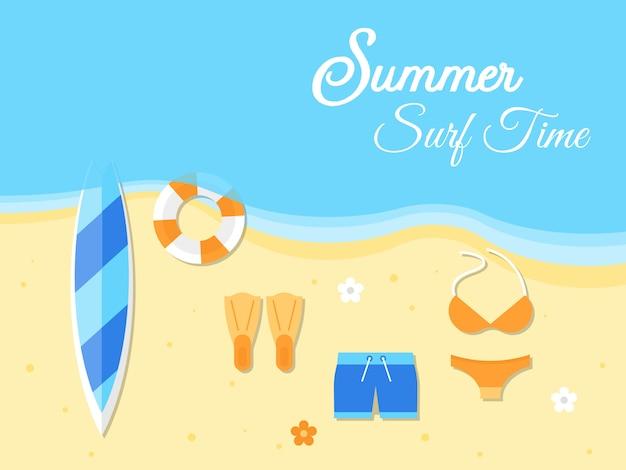 Wakacje, ilustracja lato plaża