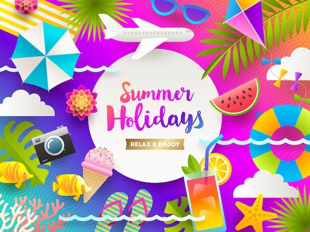 Wakacje letnie i tło wakacje na plaży