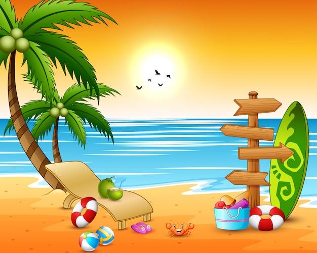 Wakacje letnie tło plaża z drewnianą strzałką