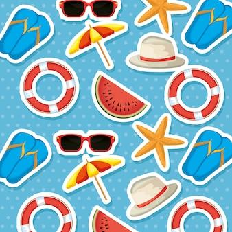 Wakacje letnie zestaw ikon wzór wektor ilustracja projektu