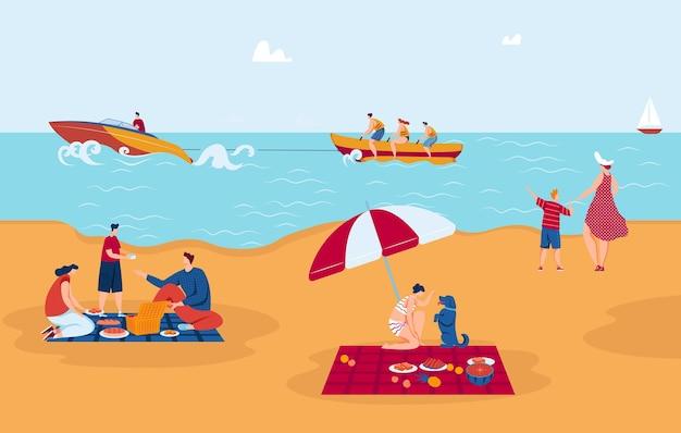 Wakacje morskie, rozrywka, żeglarstwo surfingowe i piknik na ilustracji brzegu morza.