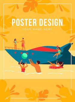 Wakacje na koncepcji jachtu. szczęśliwi turystyczni bohaterowie żeglują, piją koktajle na luksusowej łodzi, pływają i grają w piłkę w morzu. ilustracja do rejsu, tematy związane z aktywnością wody latem