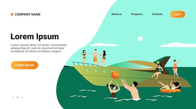 Wakacje na koncepcji jachtu. szczęśliwi turystyczni bohaterowie żeglują, piją koktajle na luksusowej łodzi, pływają i grają w piłkę w morzu