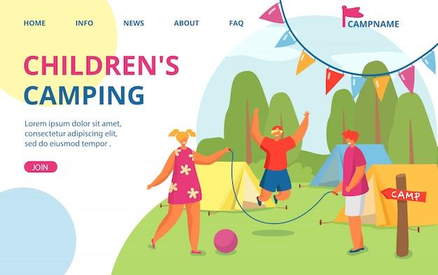 Wakacje na letnim obozie przyrodniczym, wakacje przygodowe na świeżym powietrzu dla dzieci ilustracja. sieć z lasem, namiotem, postaciami ludzi. szczęśliwe dzieci rekreacja, lądowanie.