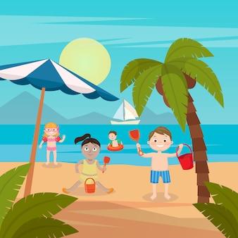 Wakacje na morzu dla dzieci. dziewczęta i chłopcy bawiące się i pływające na plaży. ilustracji wektorowych
