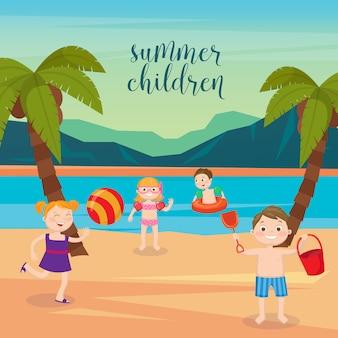 Wakacje na morzu dla dzieci. dziewczęta i chłopcy bawiące się na plaży. ilustracji wektorowych
