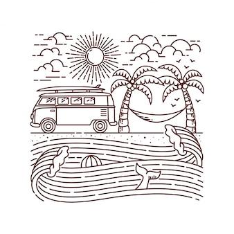 Wakacje na plażowej kreskowej ilustraci